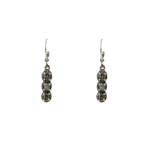 VINTAGE SILVER HATI LABRADORITE & COIN DROP EARRINGS