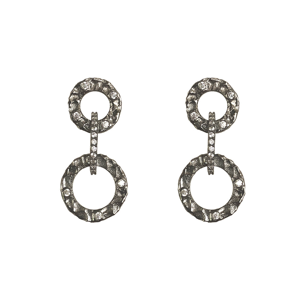 drop pin earrings crystal gray circle gunmetal