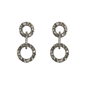 GUNMETAL VOLTA CRYSTAL EARRINGS