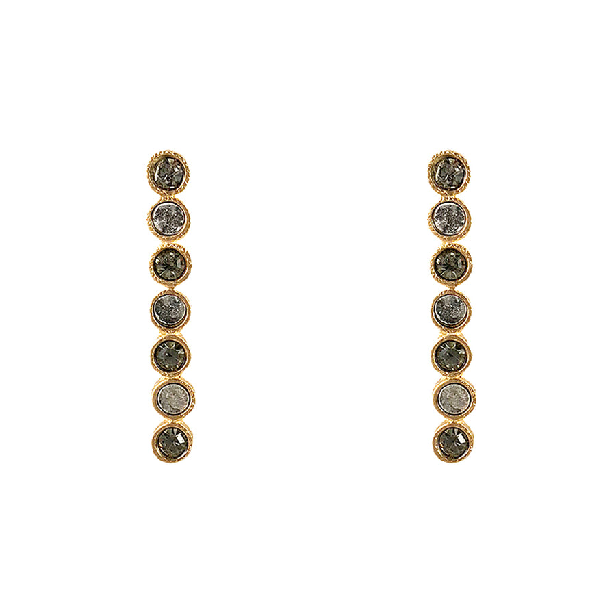 GOLD PIRA CRYSTAL & COIN POST EARRINGS