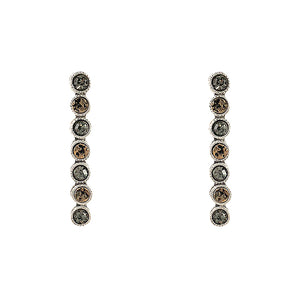 VINTAGE SILVER PIRA CRYSTAL & COIN POST EARRINGS