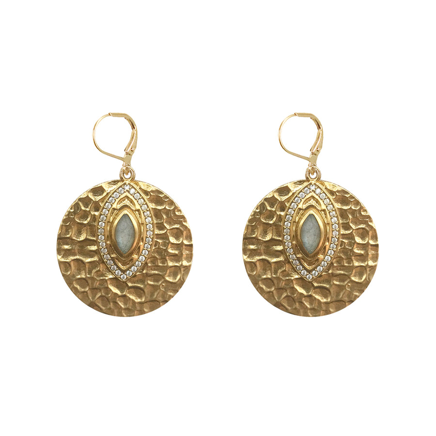 GOLD SEONI LABRADORITE HAMMERED DISK EARRINGS
