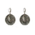 VINTAGE SILVER SEONI LABRADORITE HAMMERED DISK EARRINGS