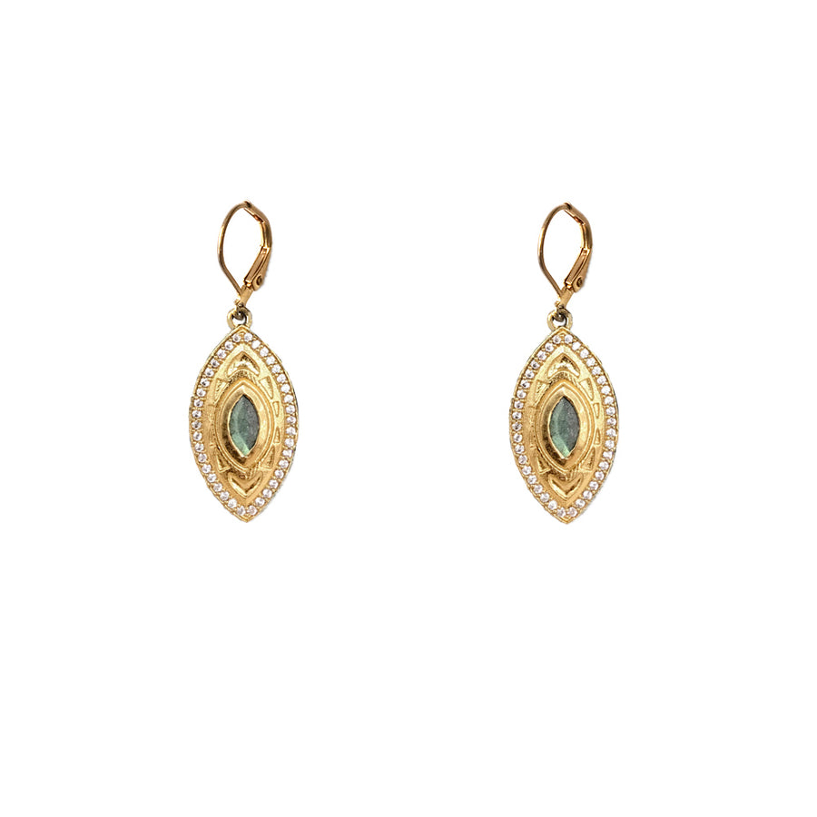 GOLD MINI SEONI LABRADORITE & CRYSTAL DROP EARRINGS
