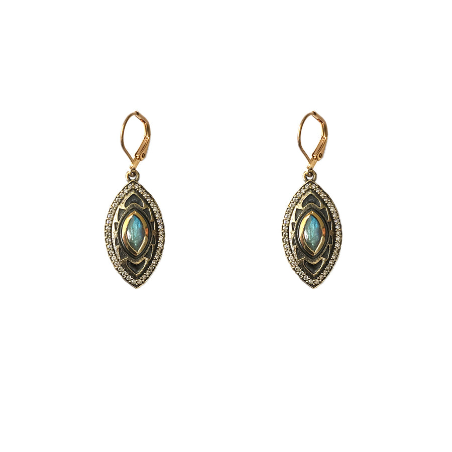 VINTAGE GOLD MINI SEONI LABRADORITE & CRYSTAL DROP EARRINGS