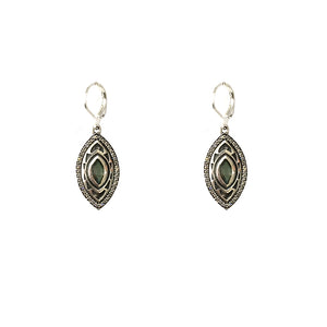 VINTAGE SILVER MINI SEONI LABRADORITE & CRYSTAL DROP EARRINGS