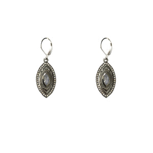 GUNMETAL MINI SEONI MOONSTONE & CRYSTAL DROP EARRINGS