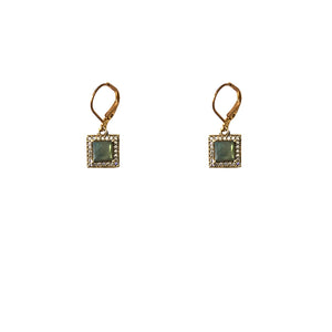 VINTAGE GOLD BAIRI LABRADORITE SQUARE DROP EARRINGS