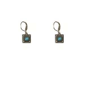 VINTAGE SILVER BAIRI LABRADORITE SQUARE DROP EARRINGS