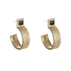 GOLD HALLER ONYX & CRYSTAL HAMMERED HOOPS