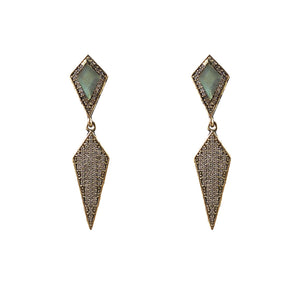VINTAGE GOLD KUTO LABRADORITE & CRYSTAL KITE EARRINGS