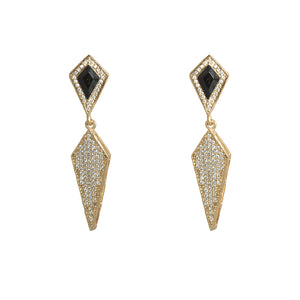 GOLD KUTO ONYX & CRYSTAL KITE EARRINGS