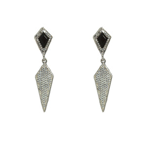 VINTAGE SILVER KUTO ONYX & CRYSTAL KITE EARRINGS