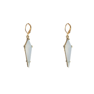 GOLD ATILLA BLUE CHALCEDONY KITE DROP EARRINGS