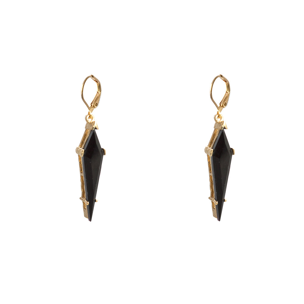 GOLD ATILLA ONYX KITE DROP EARRINGS
