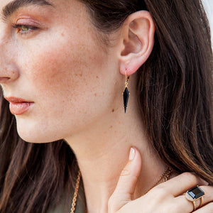 GUNMETAL ATILLA MOONSTONE KITE DROP EARRINGS