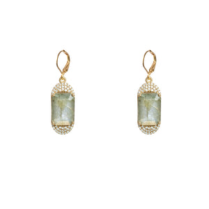 GOLD KOSOR EMERALD CUT LABRADORITE & CRYSTAL EARRINGS