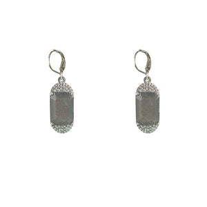 VINTAGE SILVER KOSOR EMERALD CUT LABRADORITE & CRYSTAL EARRINGS