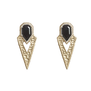 GOLD SASAD ONYX & CRYSTAL POINT EARRINGS
