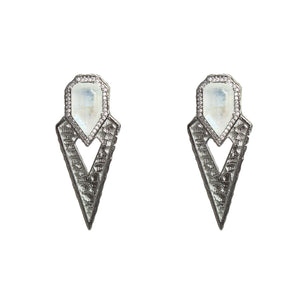 GUNMETAL SASAD MOONSTONE & CRYSTAL POINT EARRINGS