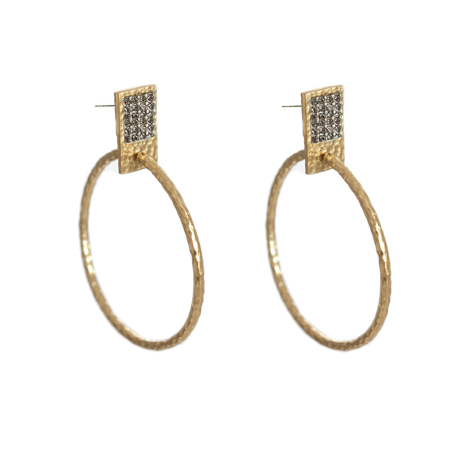 GOLD SQUARE PAVÉ HOOPS