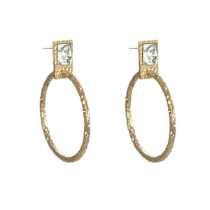 GOLD SQUARE ROMAN MAN COIN & CRYSTAL HOOPS