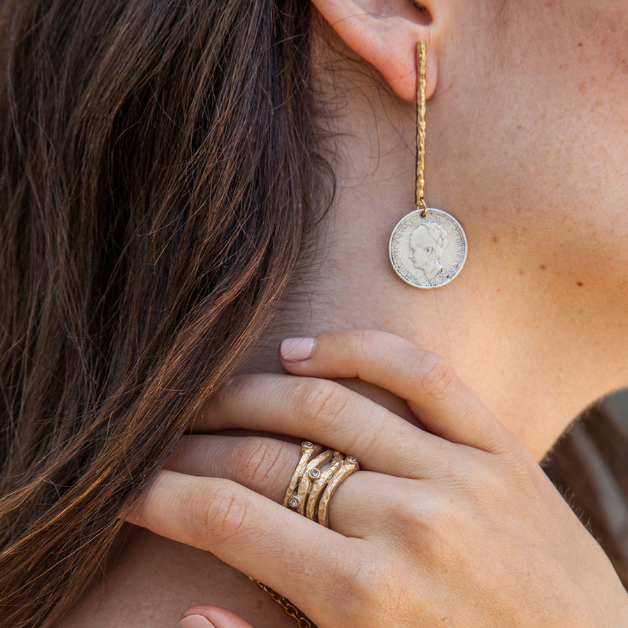 GOLD WILHELMINA COIN & BAR EARRINGS