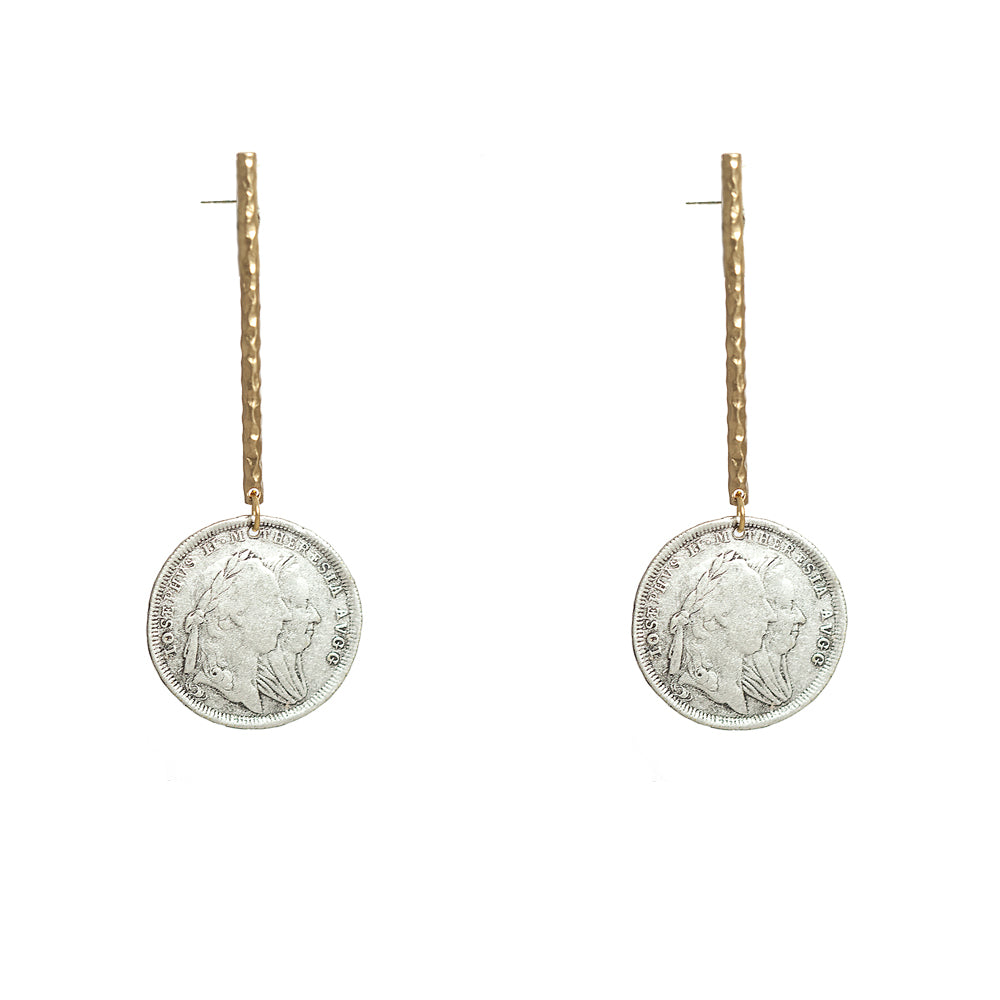 GOLD MARIA THERESA COIN & BAR EARRINGS