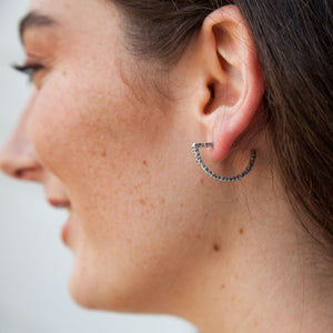 VINTAGE SILVER RIMSKA HAMMERED SEMI-CIRCLE HOOPS