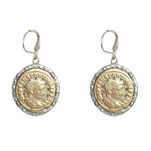 VINTAGE SILVER MAXIMIANUS COIN & CRYSTAL EARRINGS
