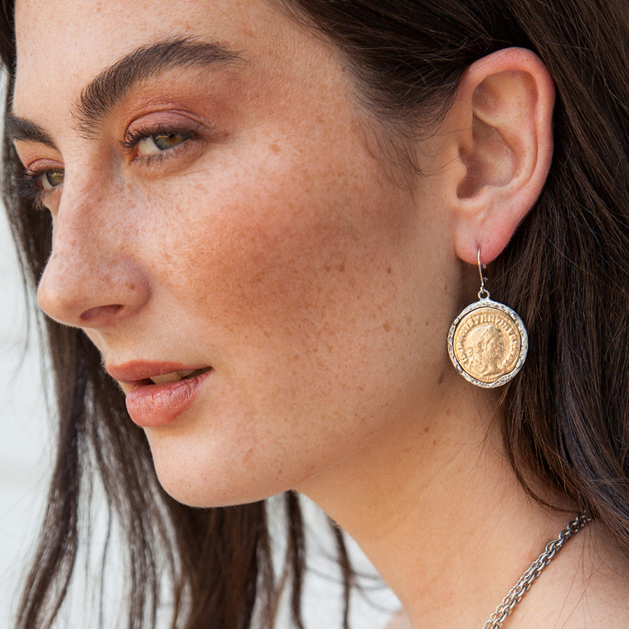 GOLD MAXIMIANUS COIN & CRYSTAL EARRINGS