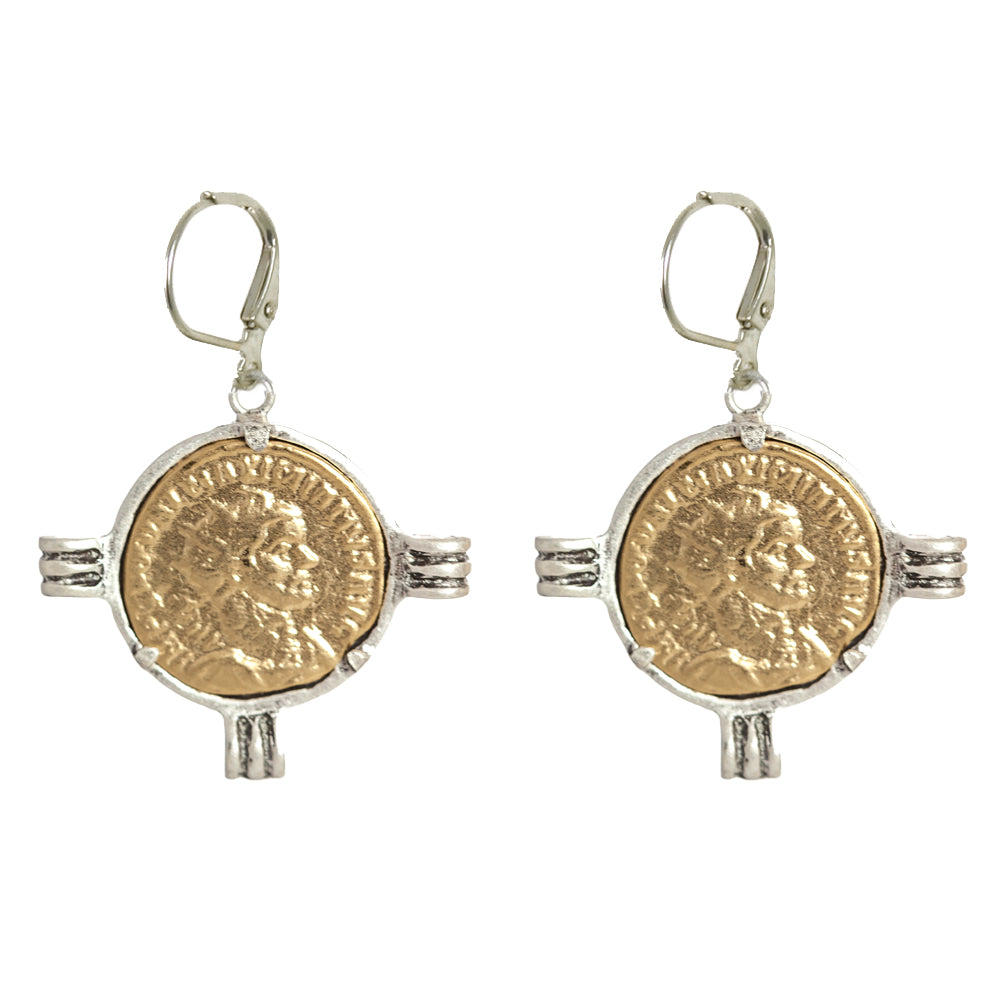 VINTAGE SILVER MAXIMIANUS COIN & FRAME EARRINGS