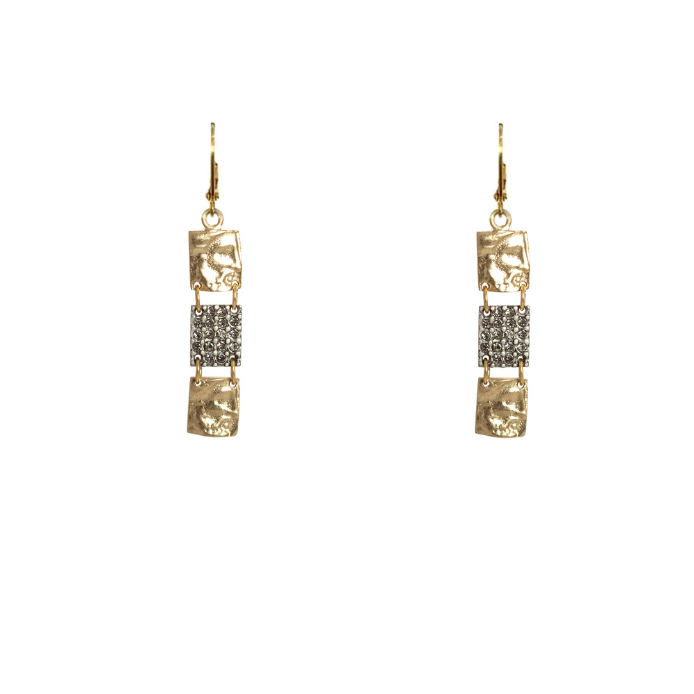 GOLD ROMAN MAN 3 SQUARE EARRINGS