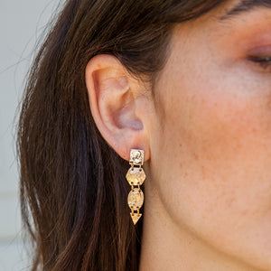 VINTAGE GOLD GEOMETRIC COIN EARRINGS