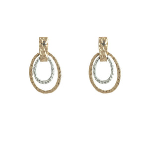 GOLD JECNA HAMMERED OVALS & CRYSTAL EARRINGS