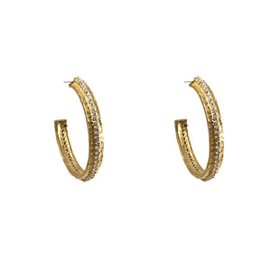GOLD EGY CRYSTAL THIN HOOPS