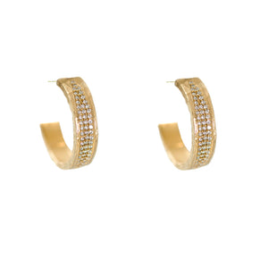 GOLD VELEN CRYSTAL INLAY HOOPS