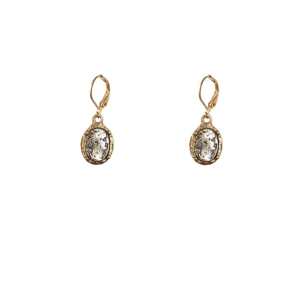 GOLD FAUSTINA COIN & FRAME DANGLE EARRINGS