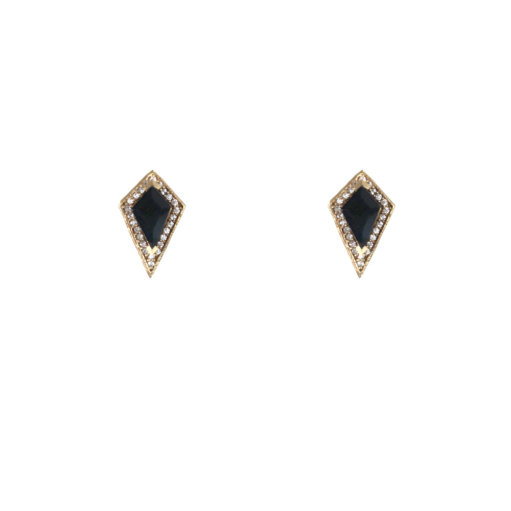 GOLD KUTO ONYX & CRYSTAL STUD EARRINGS
