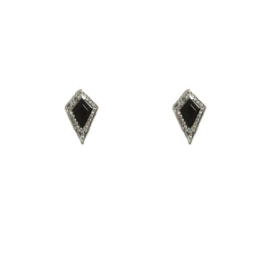 VINTAGE SILVER KUTO ONYX & CRYSTAL STUD EARRINGS