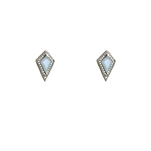 GUNMETAL KUTO MOONSTONE & CRYSTAL STUD EARRINGS