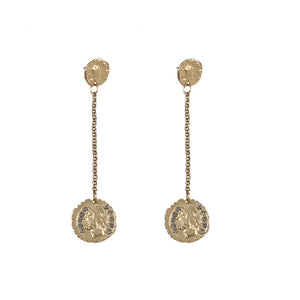GOLD DOUBLE ROMAN COIN DROP EARRINGS