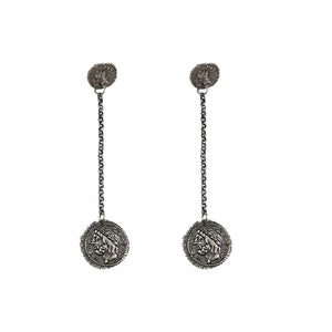 VINTAGE SILVER DOUBLE ROMAN COIN DROP EARRINGS