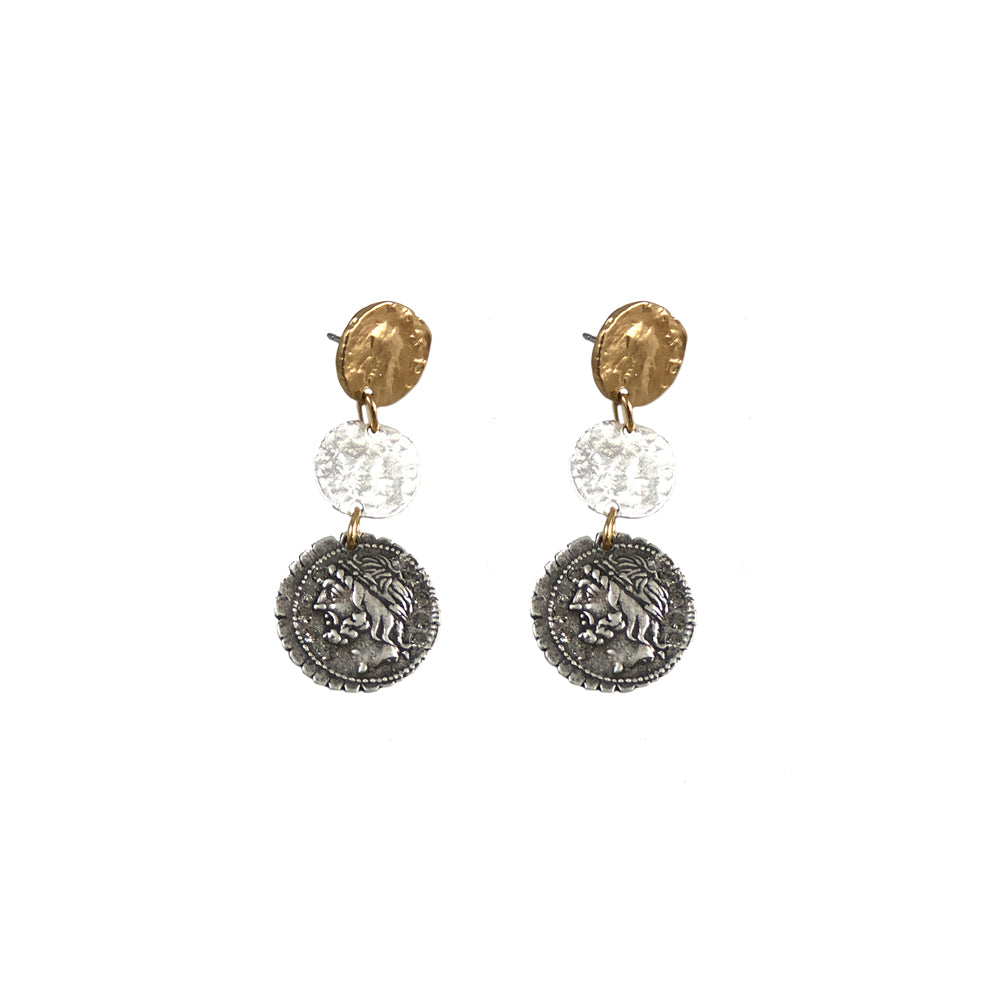 MULTI FINISH 3 COIN DROP EARRINGS