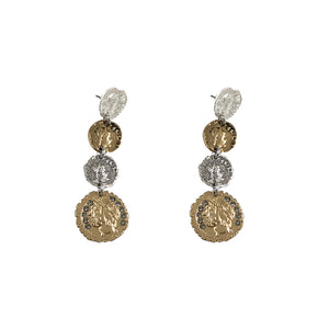 MULTI FINISH 4 ROMAN COIN DROP EARRINGS