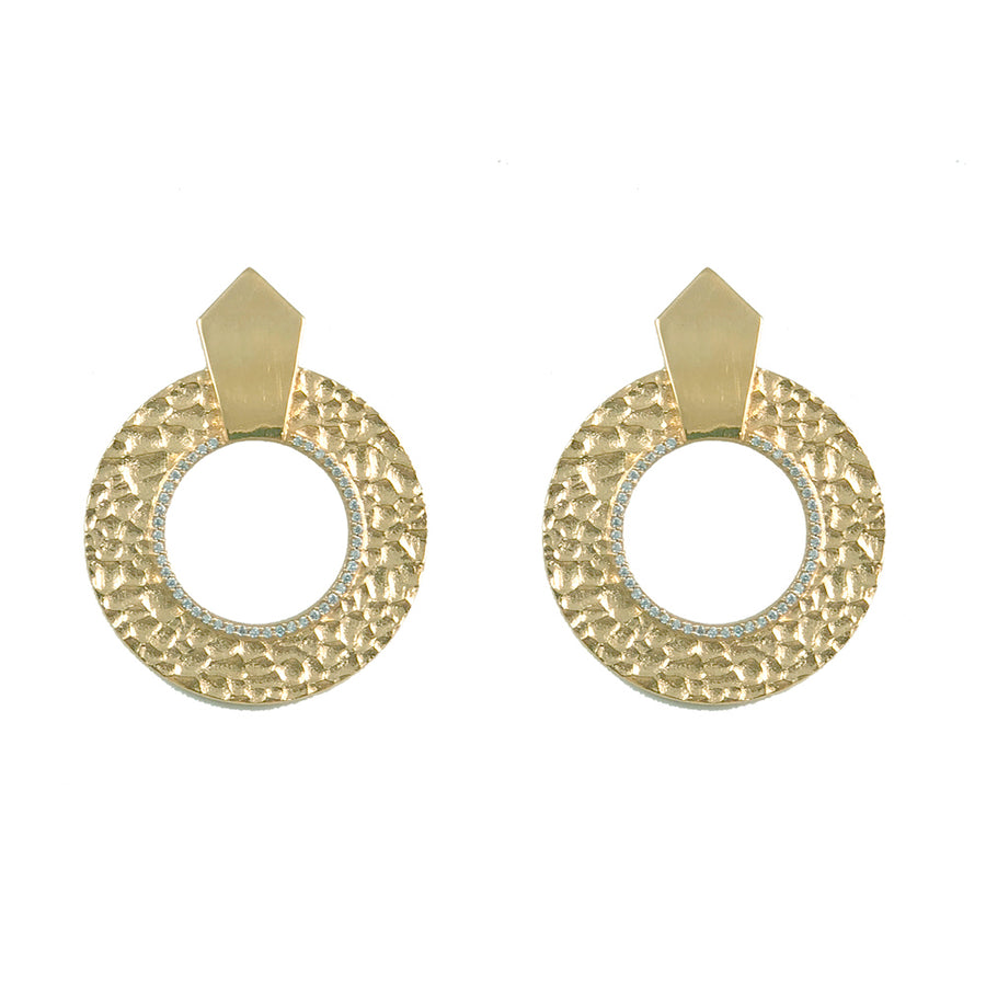 GOLD HAMMERED CIRCULAR SHIELD EARRINGS