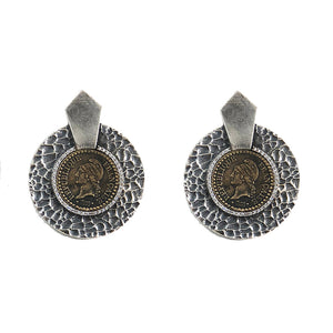 VINTAGE SILVER HAMMERED CIRCULAR SHIELD VG DUPRÉ EARRINGS