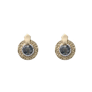 GOLD HAMMERED CIRCULAR SHIELD VS MINI DUPRÉ EARRINGS