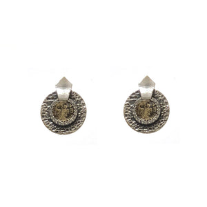 VINTAGE SILVER HAMMERED CIRCULAR SHIELD VG MINI DUPRÉ EARRINGS