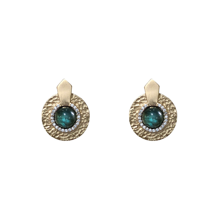 GOLD LABRADORITE HAMMERED MINI CIRCULAR SHIELD EARRINGS